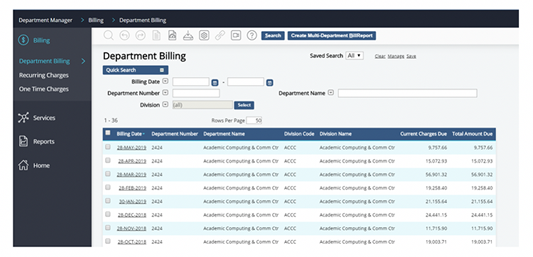 example billing search results