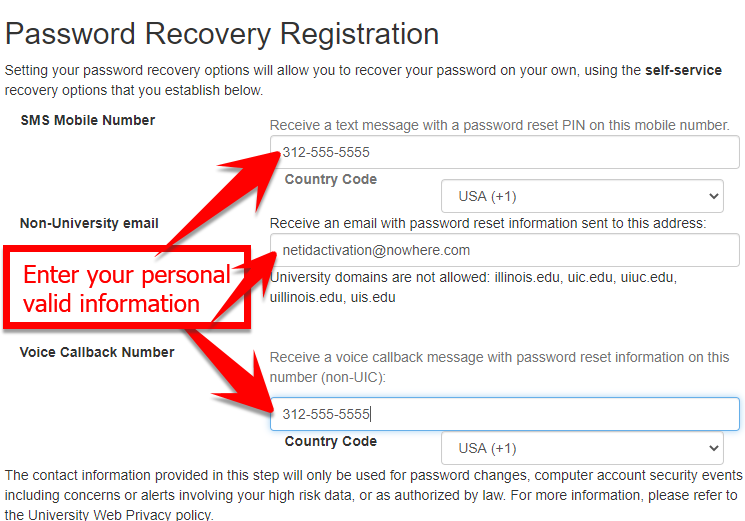 where to add personal information in password recovery fields
