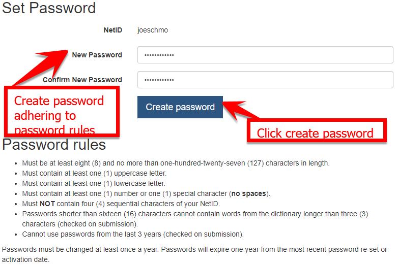 example set password screen