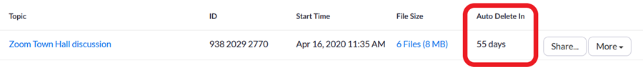 Screenshot showing detail of how many days until automatic deletion