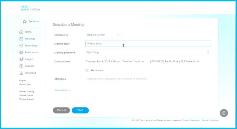 Web Ex schedule a meeting screen