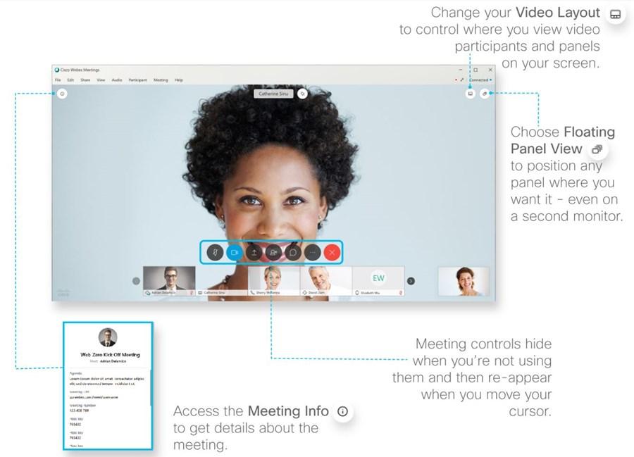 details of webex screen