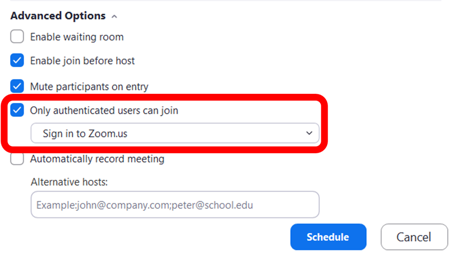 """""""Only authenticated users"""" setting listed in Advanced meeting settings"""