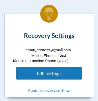 recovery settings screen