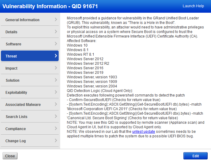 example details of a Q I D details screen