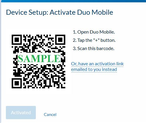Device Setup:  Activate Duo Mobile