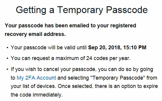 emailed code