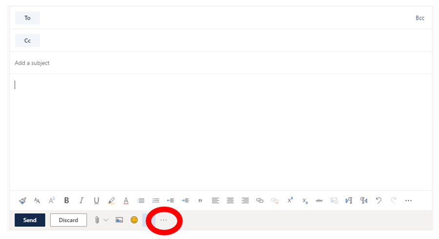 New message window with ellipsis highlighted