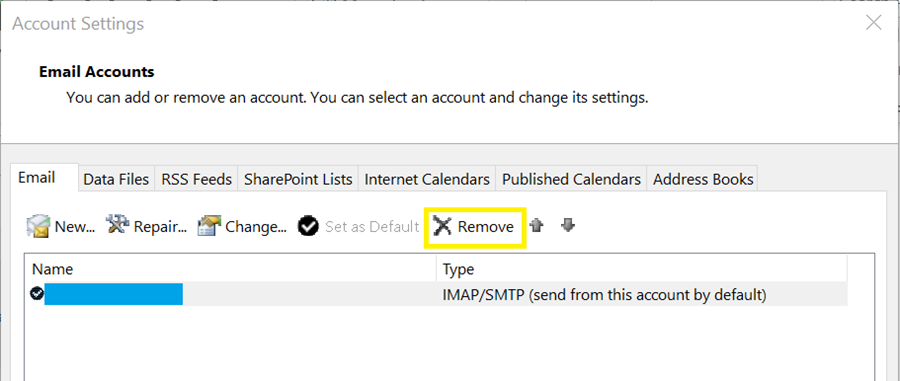 remove account option screen