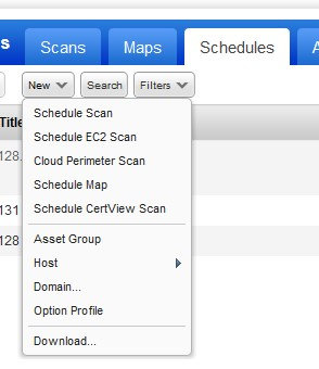 showing the schedules tab menu