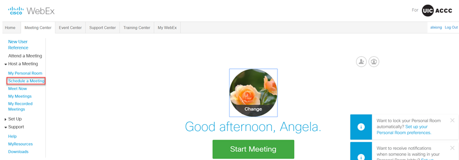 where to find schedule a meeting in menu