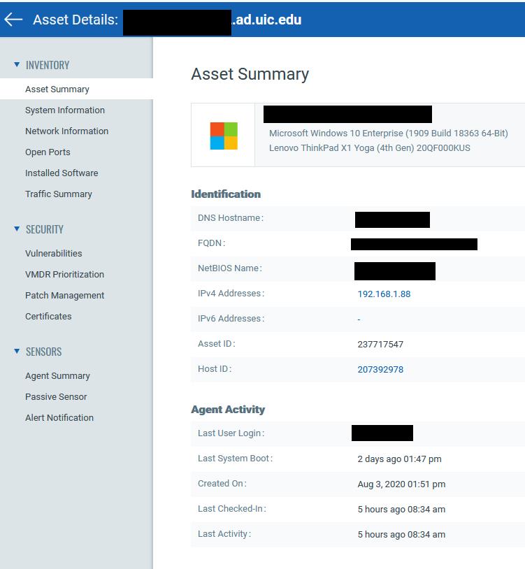 example asset summary screen