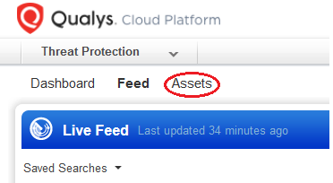 highlighting the assets button in the navigation