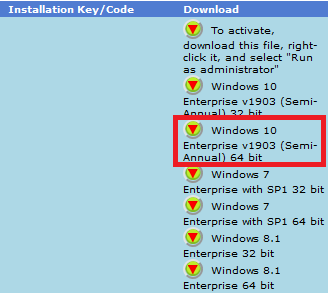 Click down arrow next to Windows 10 Enterprise V1903