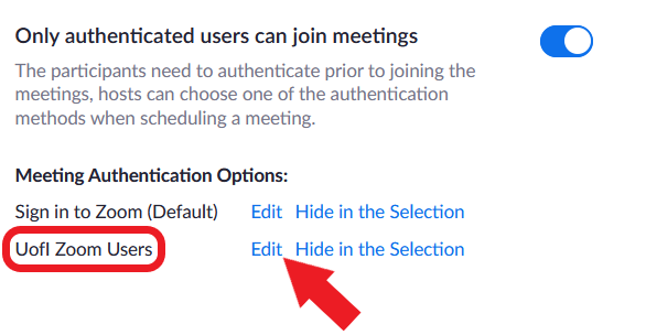 """Enable UofI Zoom Users in Zoom settings.  Edit button located to the right of """"Illinois email accounts"""""""