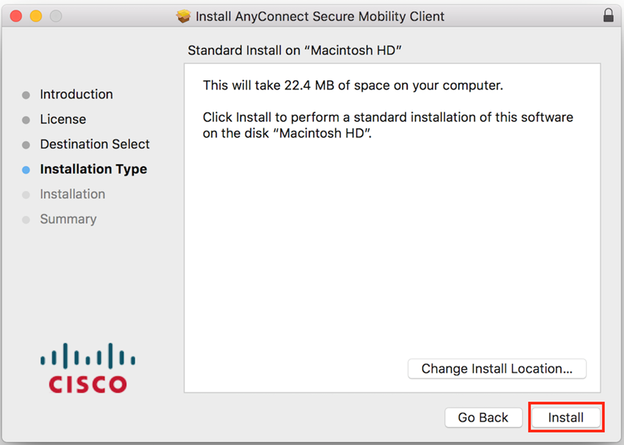 Mac installation screen