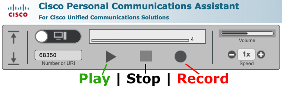 Cisco Personal Communications Assistant's Player | Highlighting the Play, Stop and record Buttons