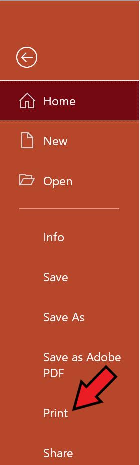 where to find print in menu