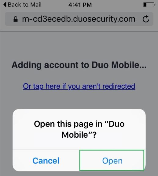 Image of mobile phone screen highlighting Open