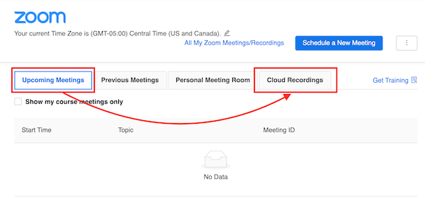 showing upcoming meetings and cloud recordings buttons