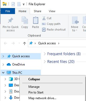 Map network drive option in Windows file explorer