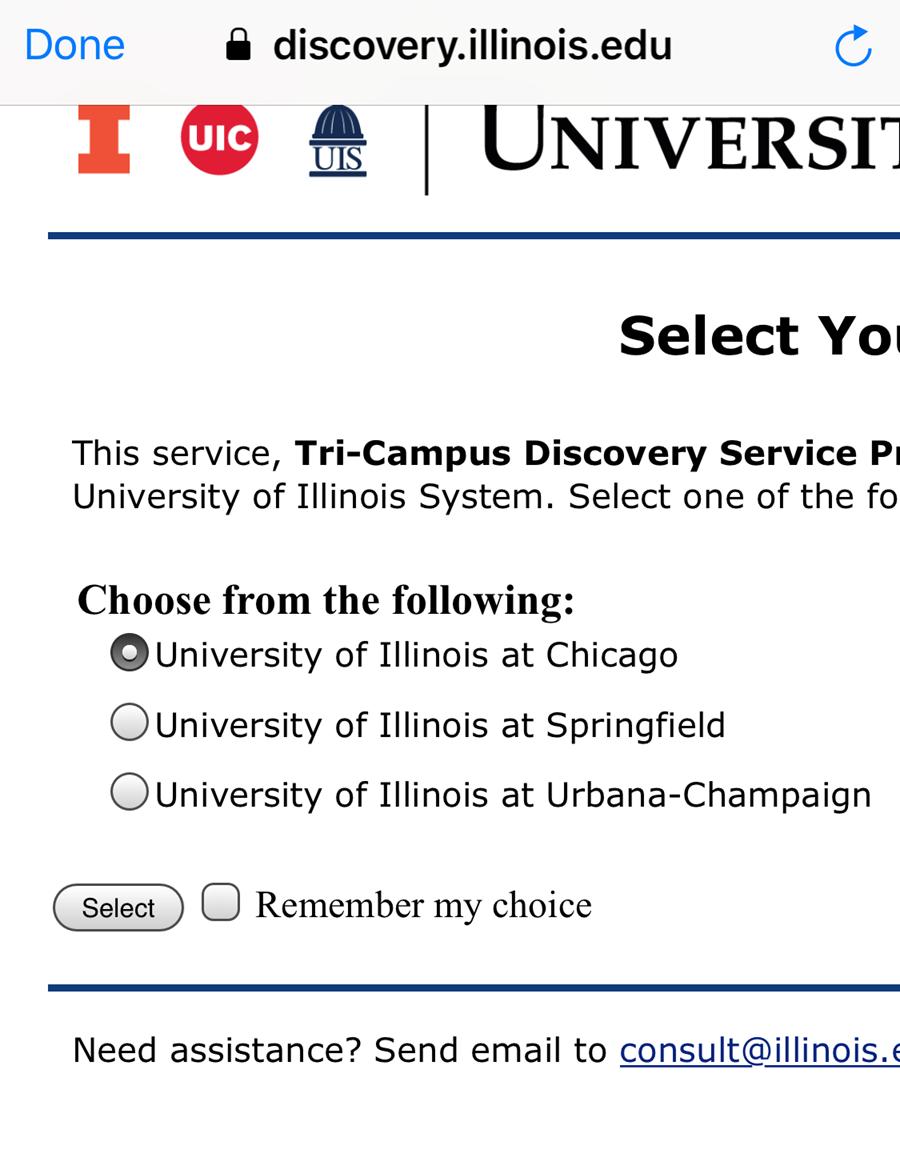Choose UIC radio button
