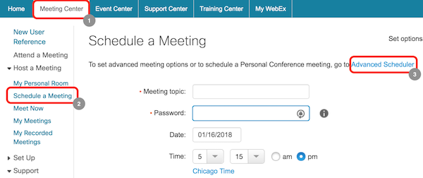 First steps for scheduling meeting