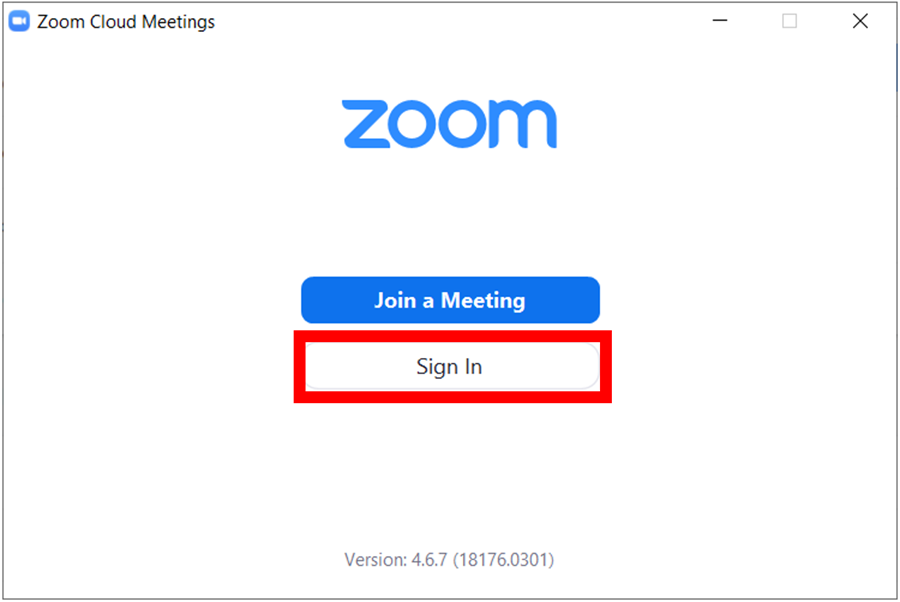 zoom desktop client initial screen with join a meeting button and sign in button