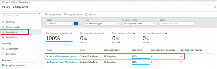 policy compliance details screen