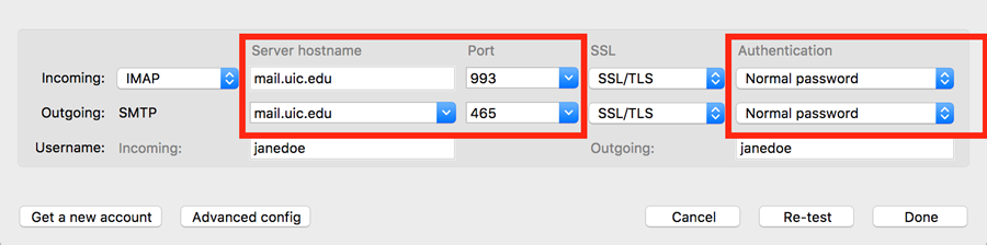 settings for Server hostname and authentication