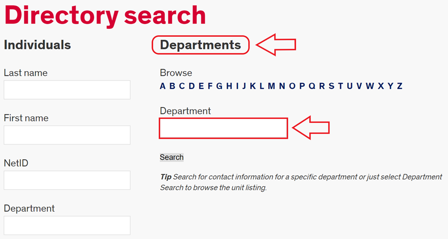 where to find the department field