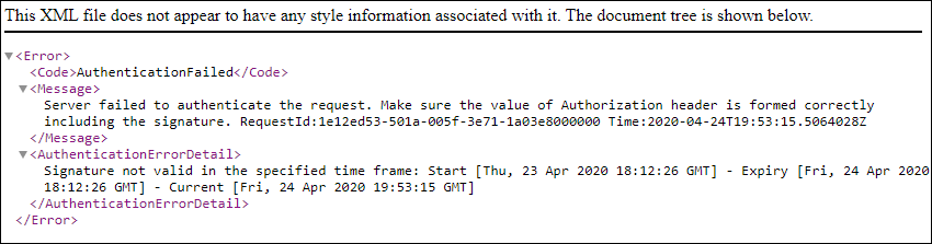 example error message