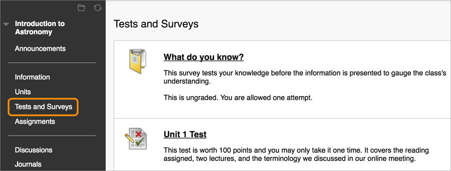 Tests and Surveys screen highlighting Tests and Surveys button in the left-hand navigation