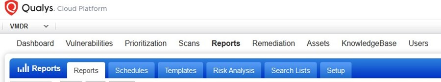 showing Reports tab in qualys screen