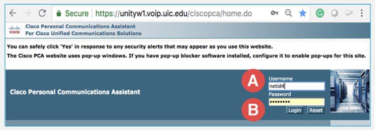 Cisco log in screen