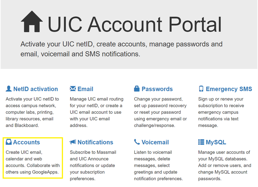 Where to find Accounts on the account portal screen
