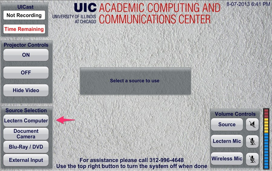 showing where to find the Lectern Computer button in the menu on the screen