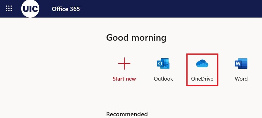 example office 365 screen highlighting the one drive icon