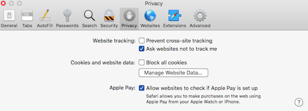 example privacy tab screen showing location of prevent cross site tracking option with unchecked box