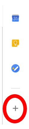 Google side bar with plus symbol highlighted to start G Suite Marketplace