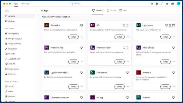 Adobe Desktop app listing applications