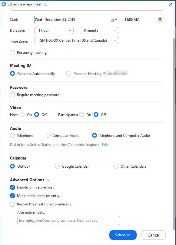 meeting options page showing standard options and advanced options to enable join before host mute participants record meeting, alternative hosts