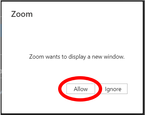 Click allow if you are blocking pop ups.  Allow is found on the lower middle of the window.