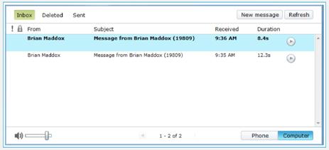 Web inbox screen