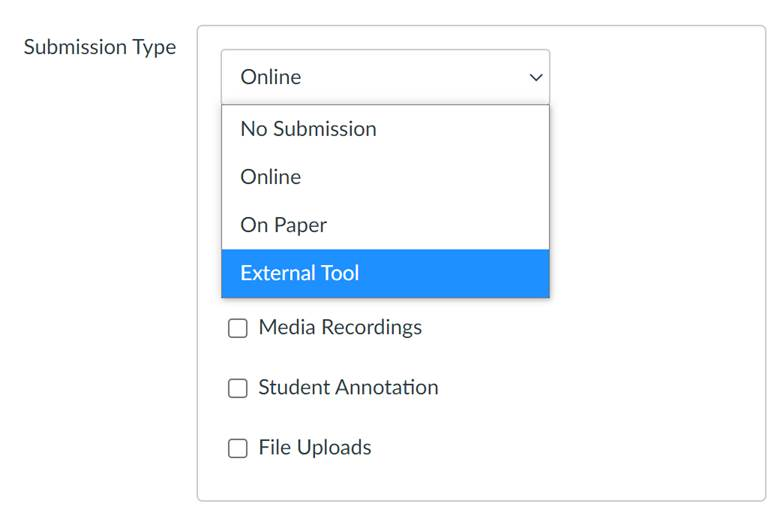 Submission Type Menu Highlighting External Tool
