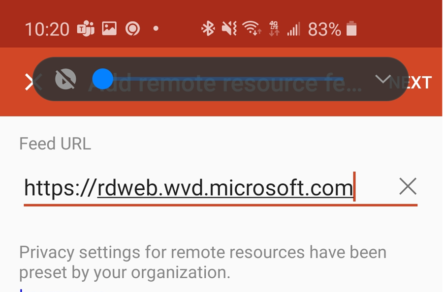 showing field for remote resource feed URL