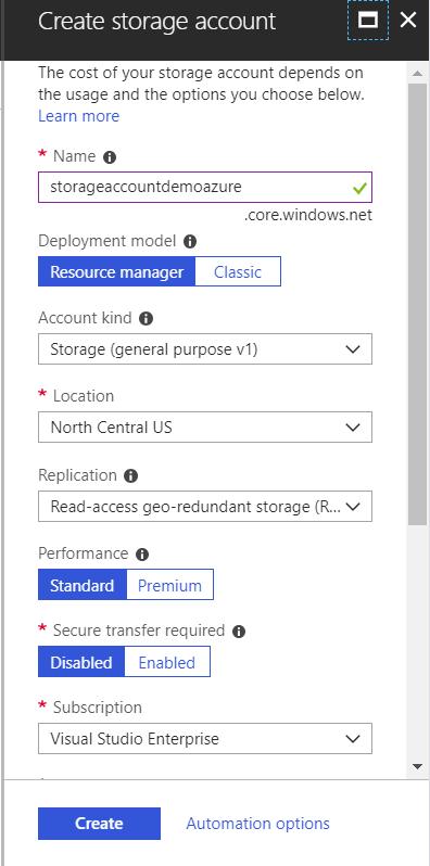 example create storage account screen