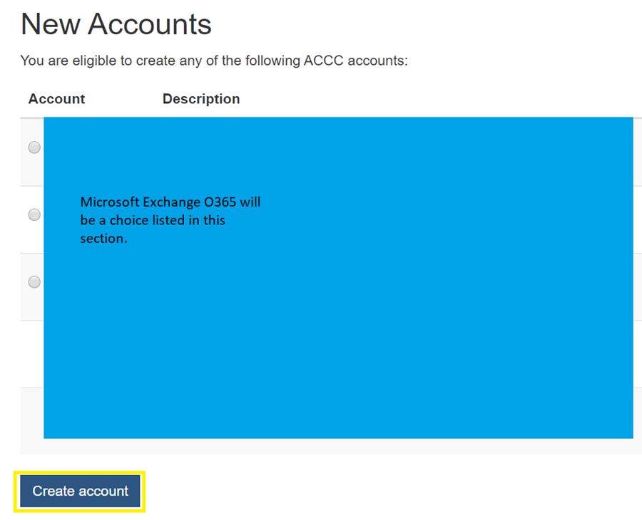 example new accounts screen