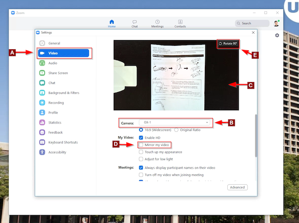 Video input settings highlighted