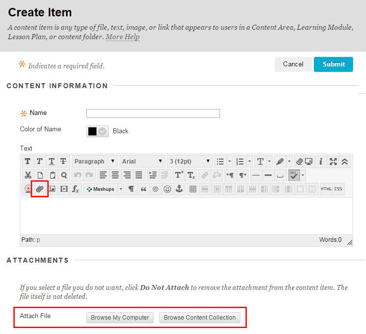Create Item screen highlighting paper clip icon for the attach function in the text editor and the attach file buttons